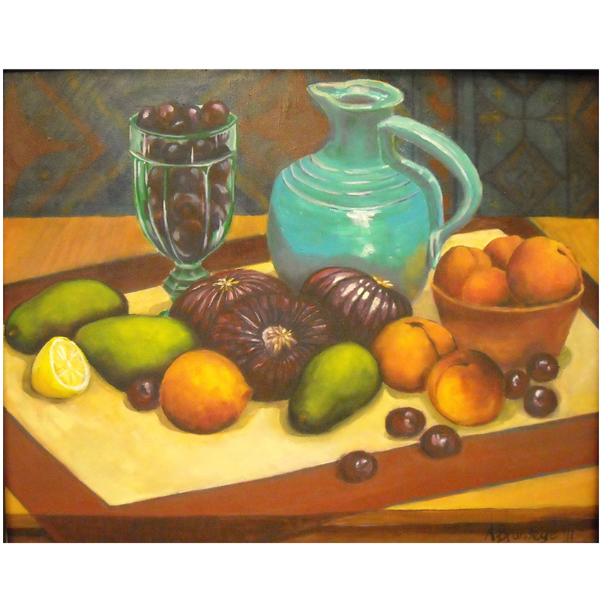 Still Life with Tapestry 20x16 oil on canvas framed $450