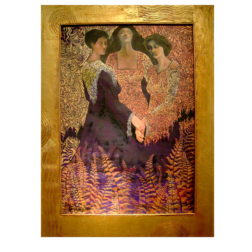 Three Graces 28x40 oil on canvas custom designed handmade frame  $4,600