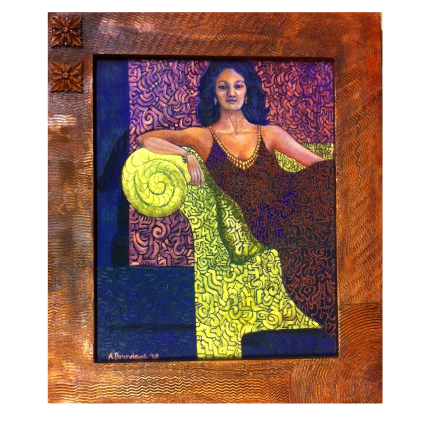 Metallic Kunti 16x20 oil on canvas custom designed handmade frame $300