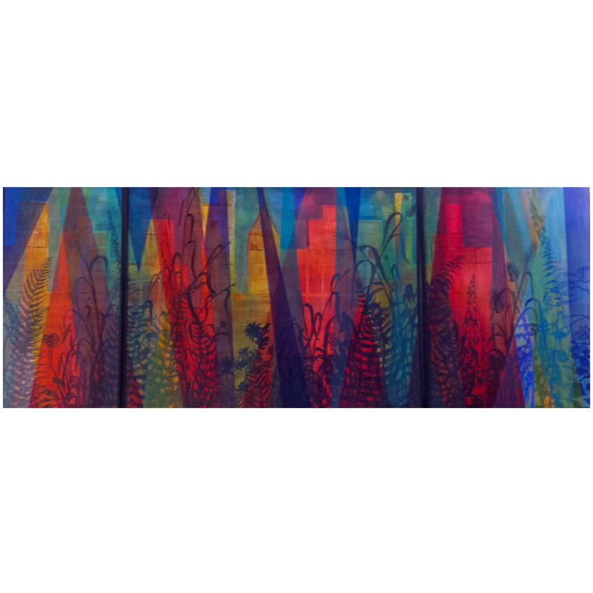 Harmony - Nature vs. Man triptych 24x60 oil on canvas framed $800