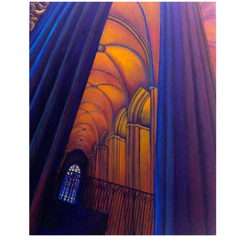 Cathedral of Barcelona 16x20 oil on canvas framed $400