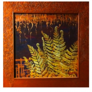 Metallic Ferns  18x18 oil on canvas custom designed frame $350