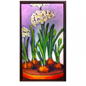 Paperwhites 10 x18  acrylic on canvas framed $250