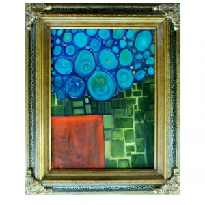 Child's Starry Night pil on canvas framed $175