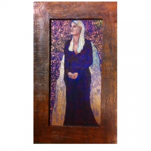 Metallic Amy 10x20 oil on canvas custom designed handmade frame $200